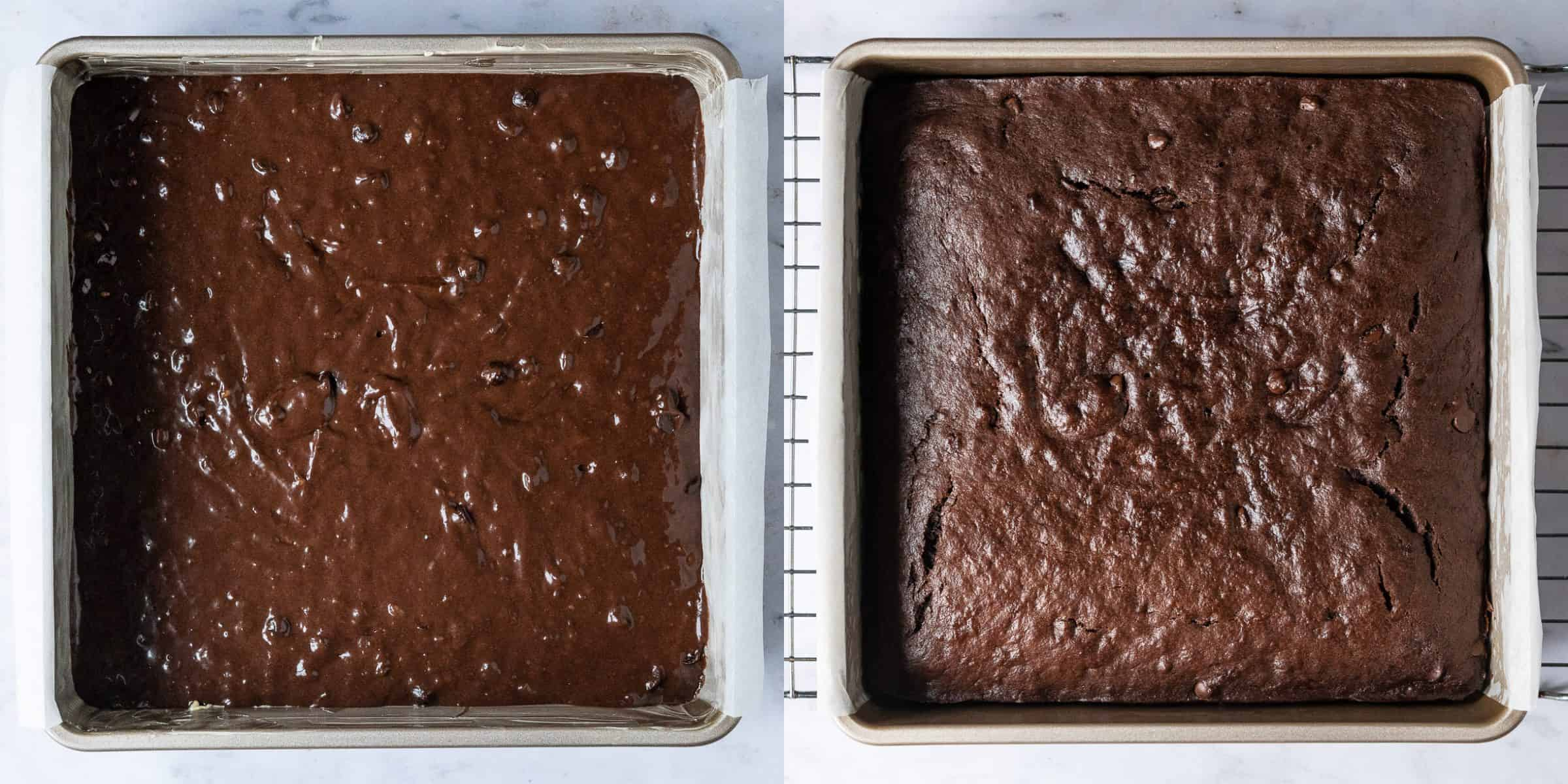 Step 3 - a two image collage of adding the batter to the tin and the baked cake.