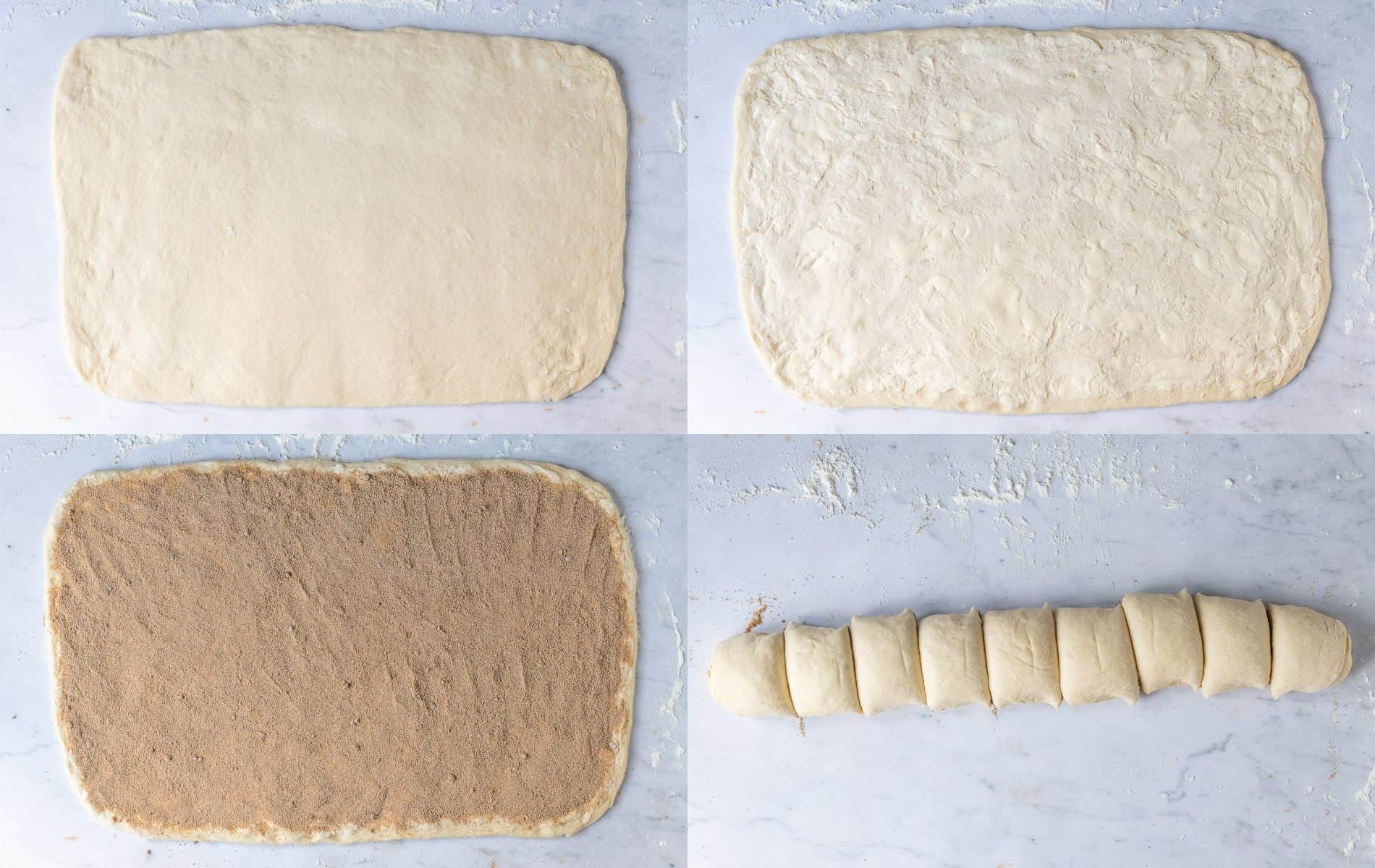 Step 4 - a four image collage of rolling out the dough, adding the filling and slicing it into rounds.