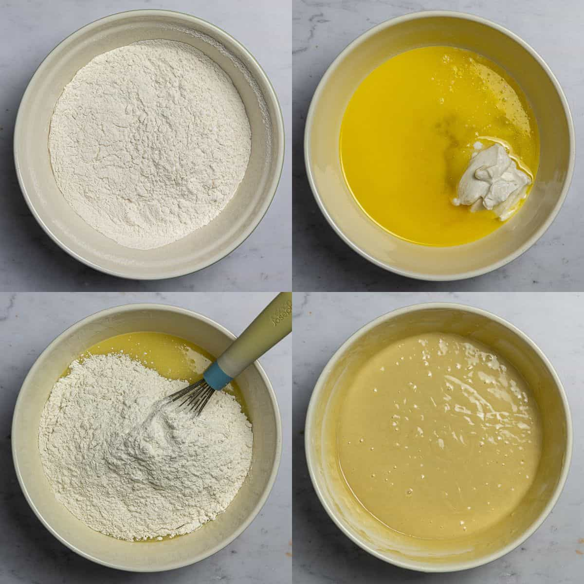 Step 1 - a four image collage of sifting together the dry ingredients, whisking together the wet and making the batter.