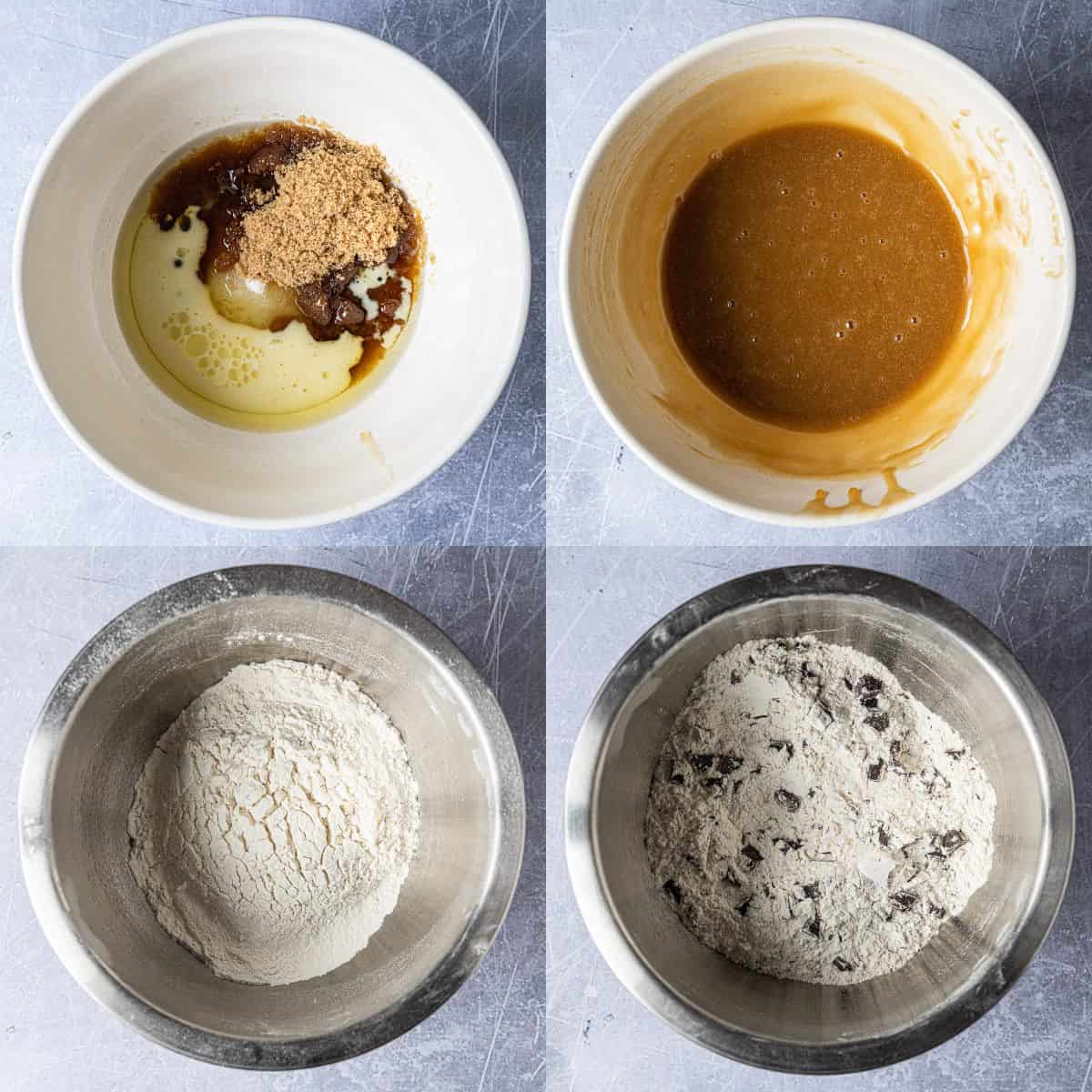 Step 1 - a four image collage of mixing the wet ingredients and sifting together the dry ingredients.