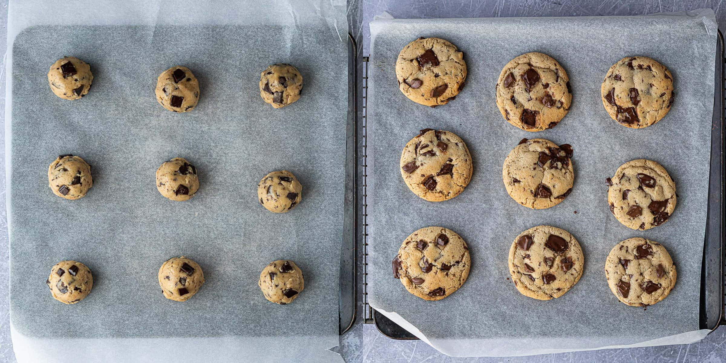 Step 3 - a two image collage of the unbaked cookies and the baked cookies.