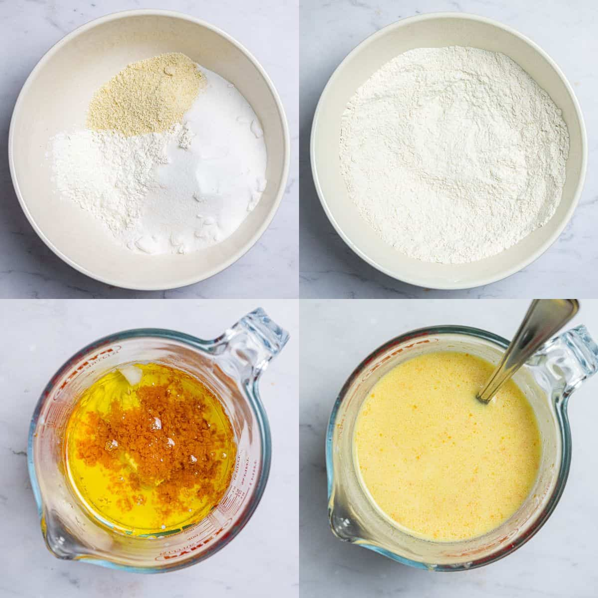 Step 1 - a four image collage of sifting together the dry ingredients and whisking together the wet ingredients.