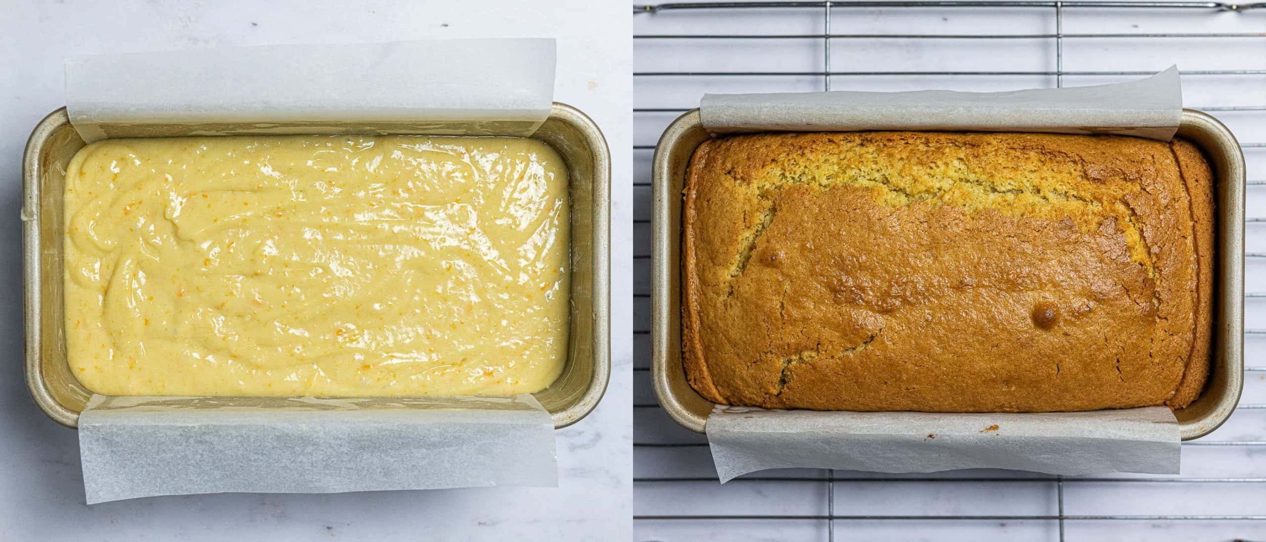 Step 3 - a two image collage of the batter in the cake tin and the baked cake.