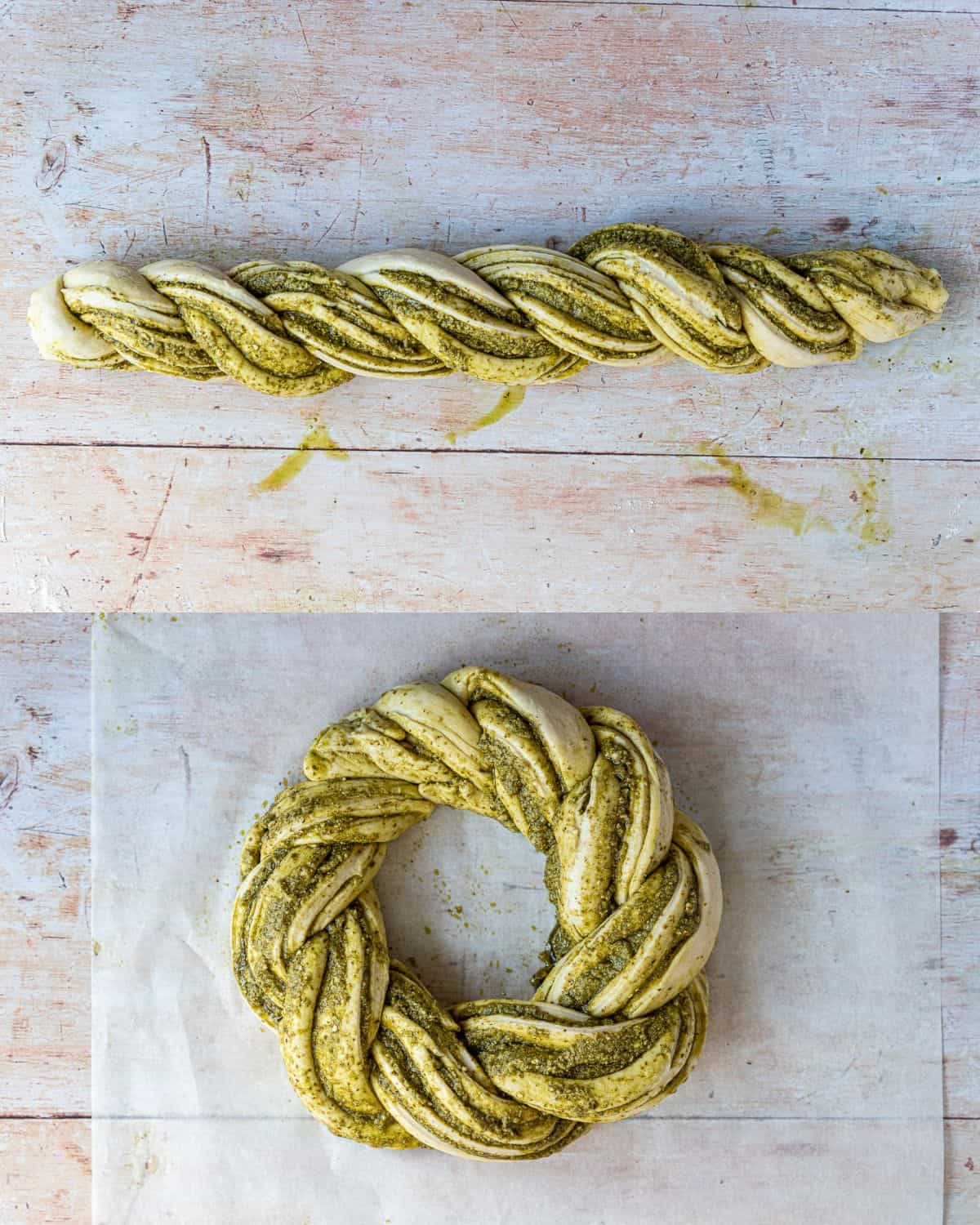 Step 4 - a two image collage of twisting the two halves of dough together and shaping it into a wreath.