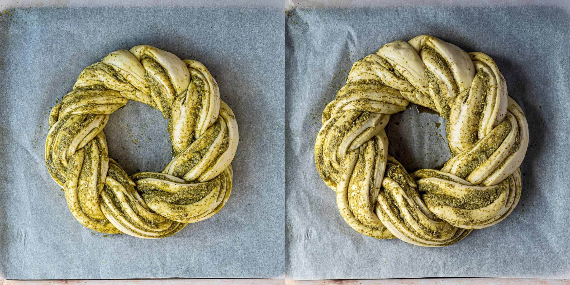 Step 5 - a two image collage of letting the bread wreath rise.