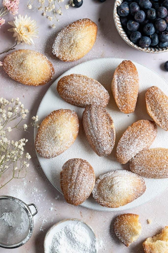 Icing sugar dusted vegan Madeleines on a white plate with dried flowers and blueberries.