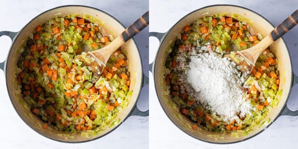 Step 1 - a two image collage of frying the vegetables and adding the flour.