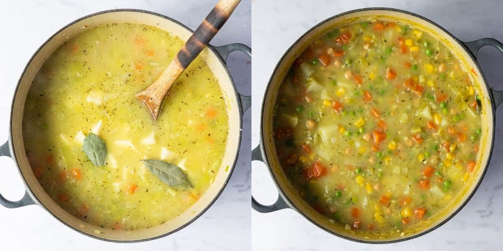 Step 2 - a two image collage of adding the stock, herbs and potatoes and adding the peas, sweetcorn and chickpeas.