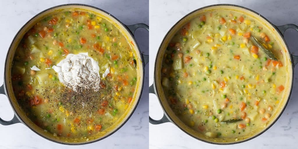 Step 3 - a two image collage of adding the cream and the finished soup.