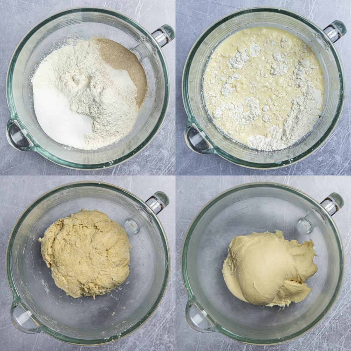 Step 2 - a four image collage of making the dough.