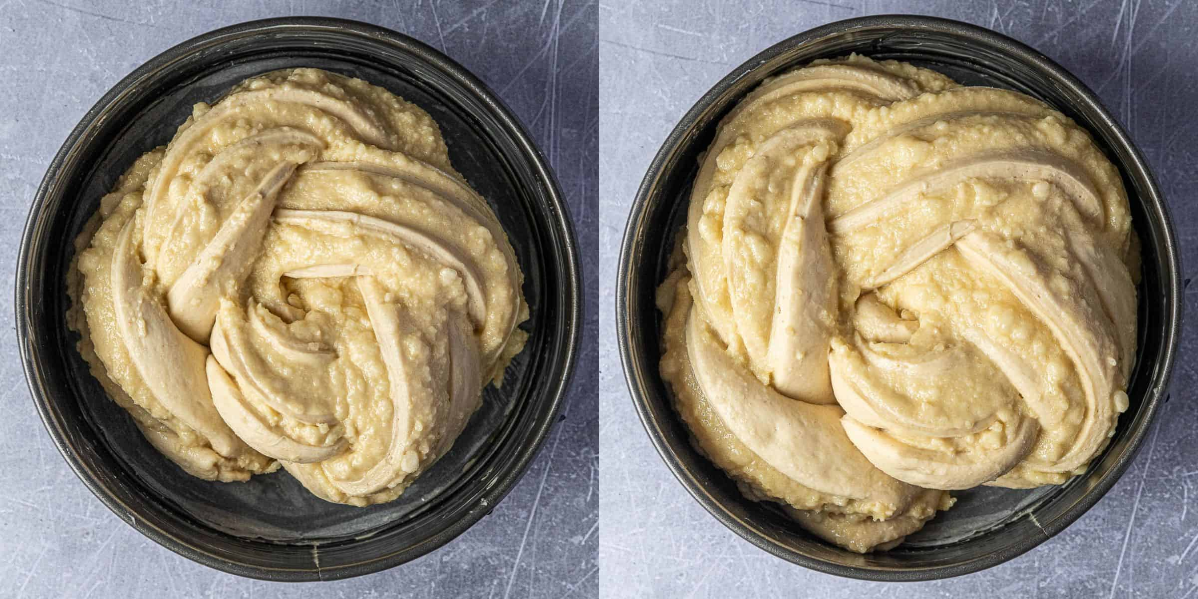 Step 6, a two image collage of the bread before and after it's second rise.