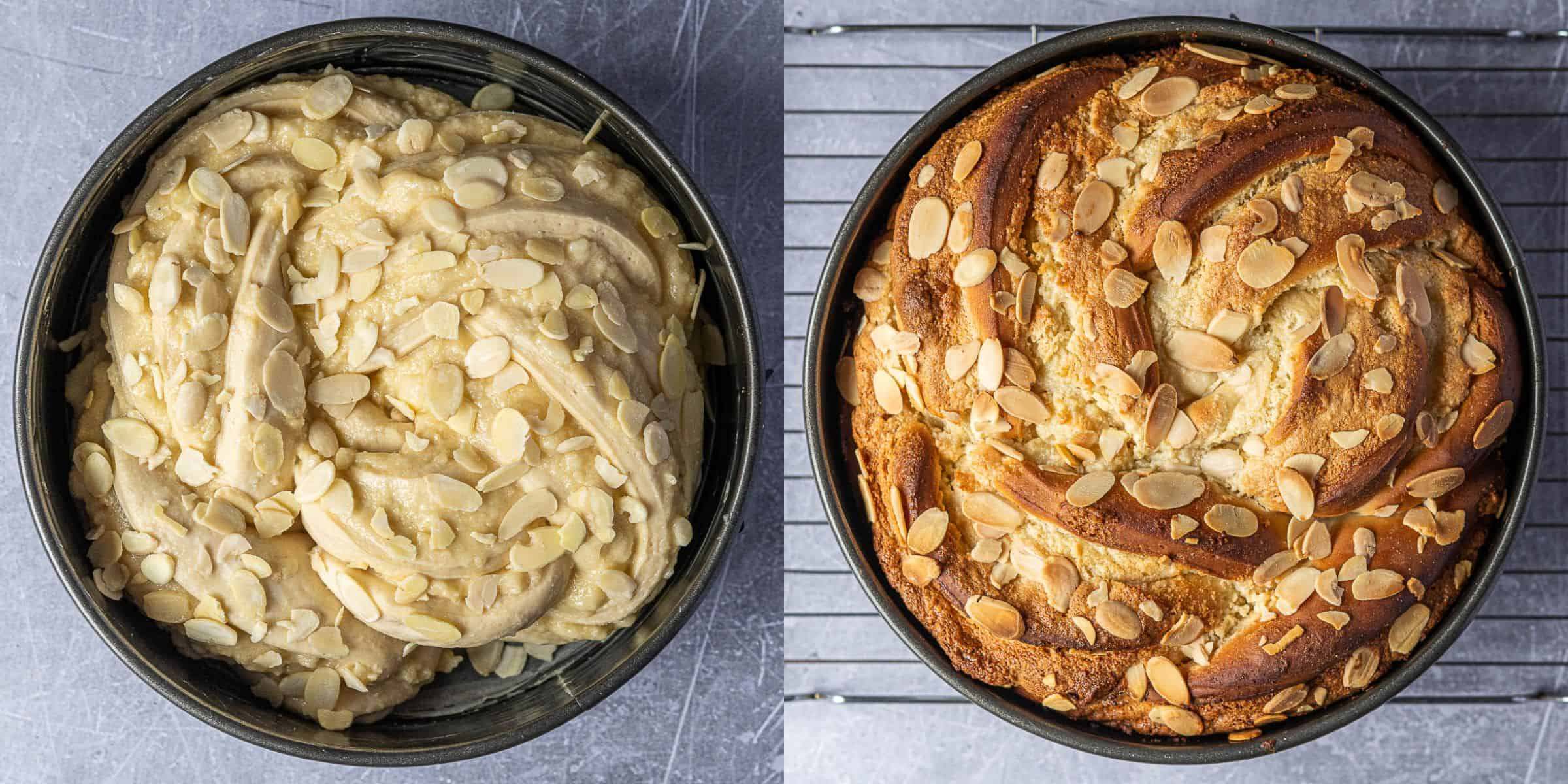 Step 7, a two image collage of the bread before and after baking.