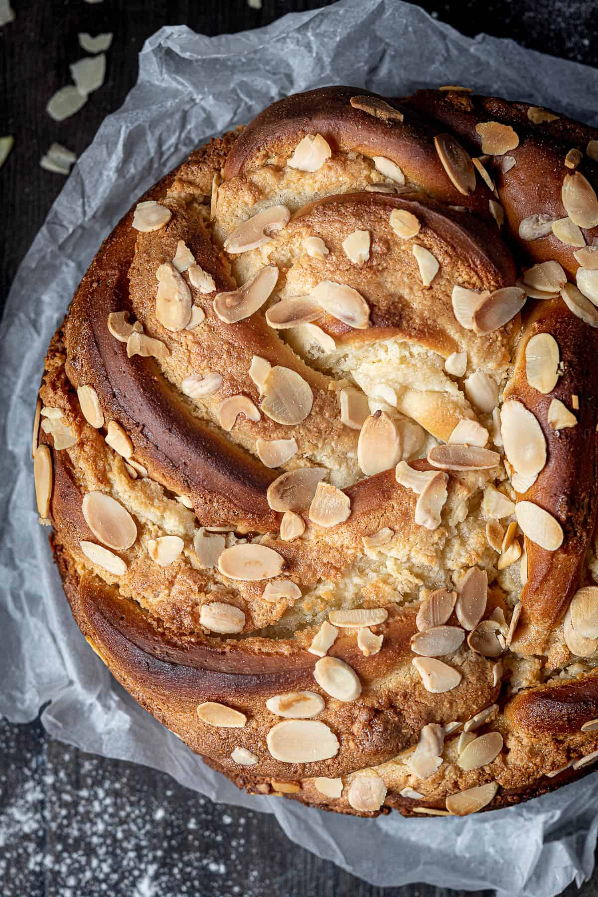 Close up of the baked vegan almond bread twist.
