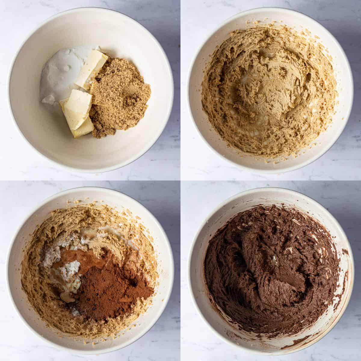Step 1 - a four image collage of whisking together the butter and sugar and adding the cocoa powder.