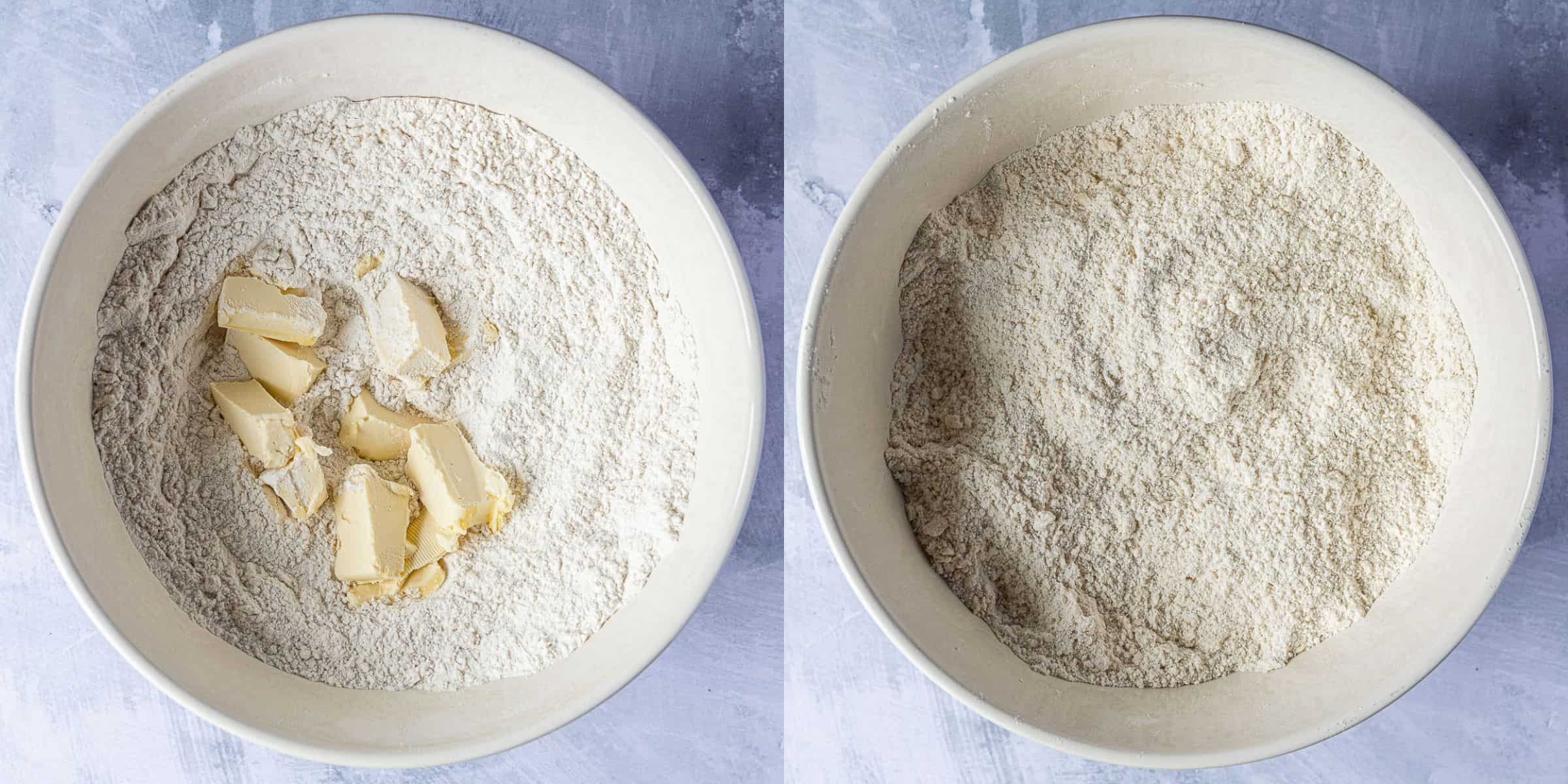 Step 1 - a two image collage of rubbing the butter into the flour.