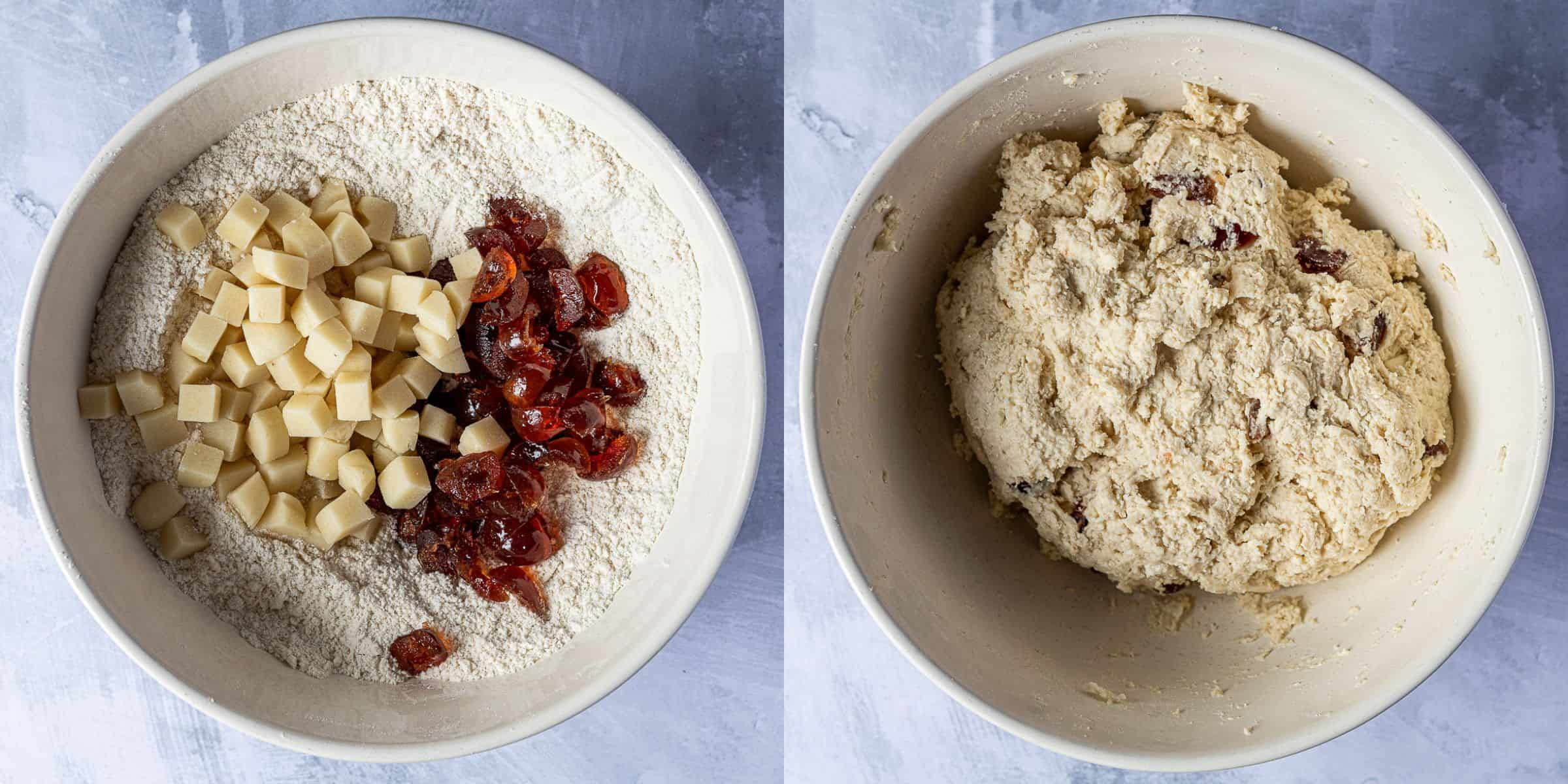 Step 2 - a two image collage of adding the marzipan and cherries and forming the dough.