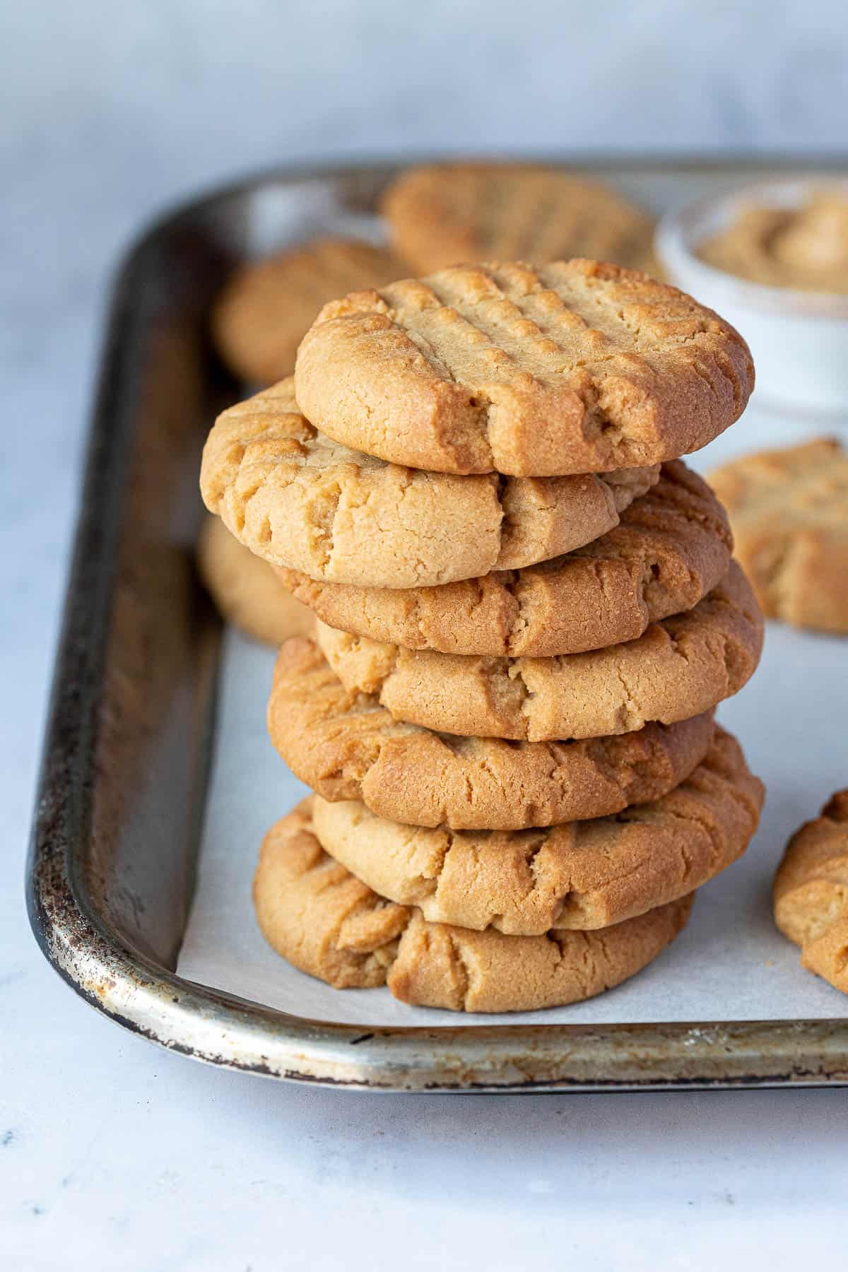 A stack of peanut butter cookies.