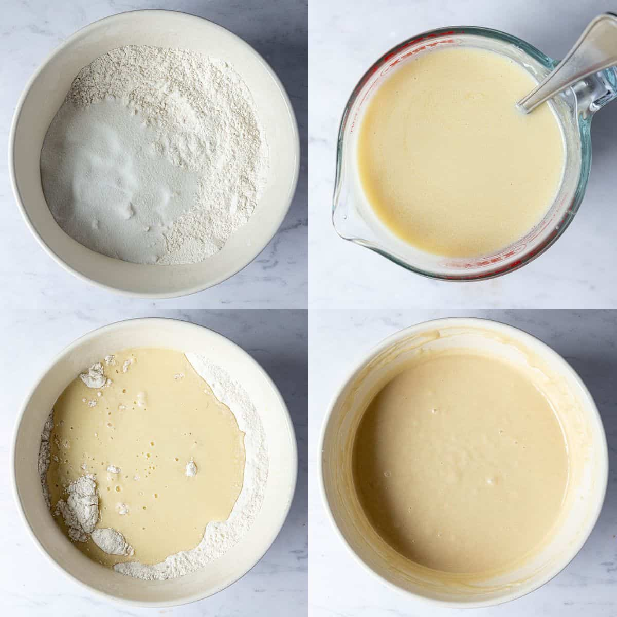 Step 1, a four image collage of mixing the dry ingredients, whisking the wet ingredients and mixing the two together.