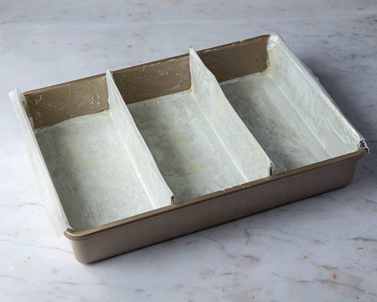The lined and divided cake tin.