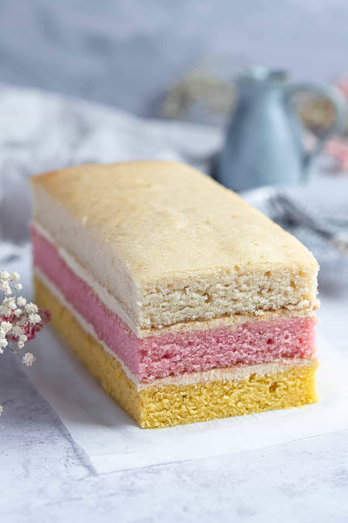 The assembled angel cake.