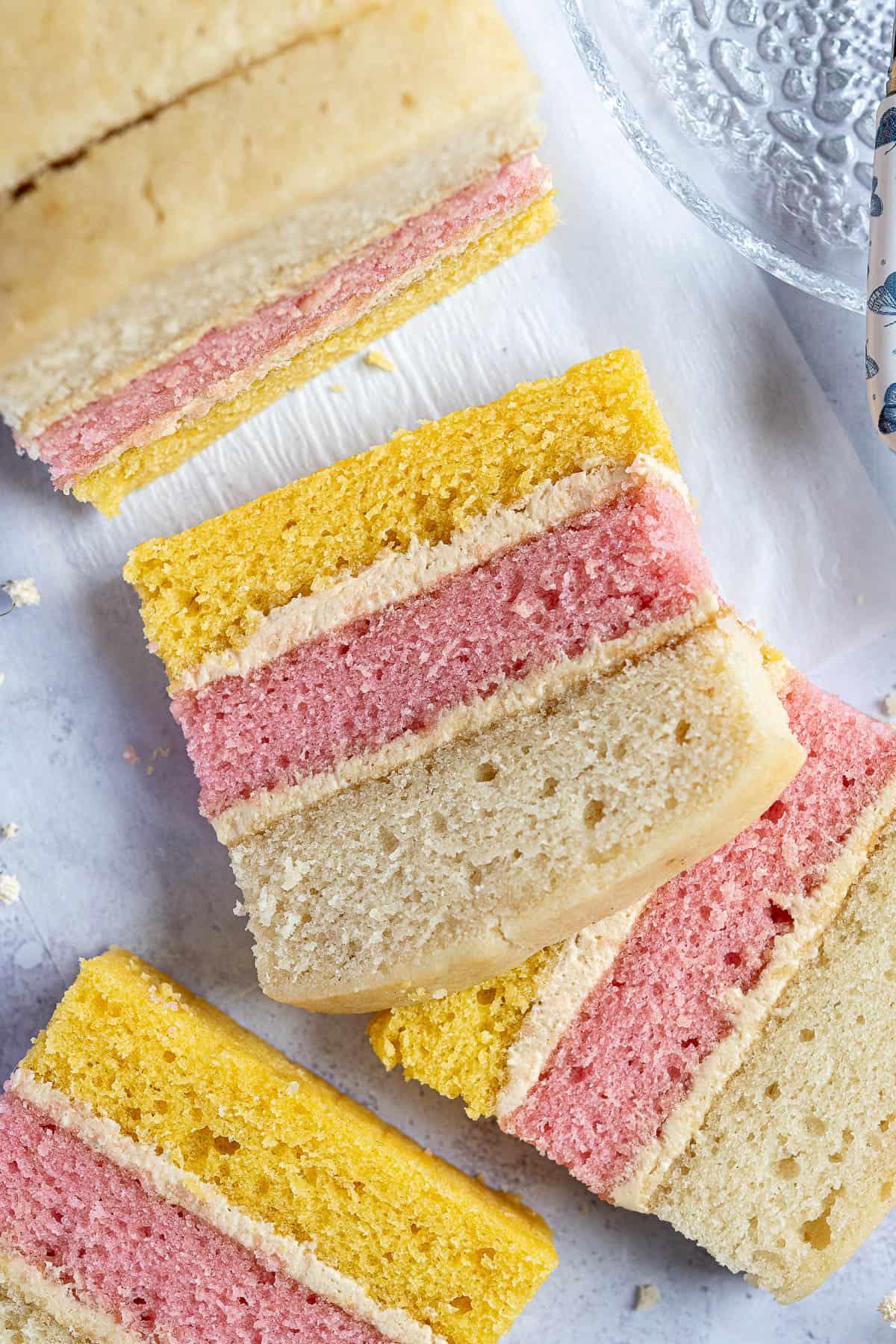 Close up of slices of vegan angel cake.
