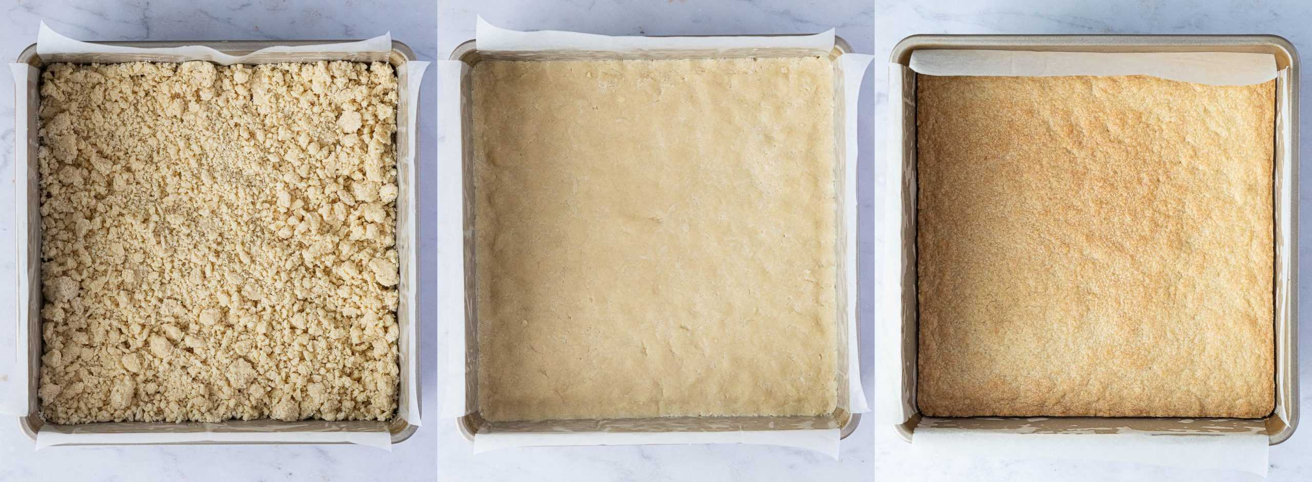 Step 2, a three image collage of pressing the dough into the tin and baking the shortbread.