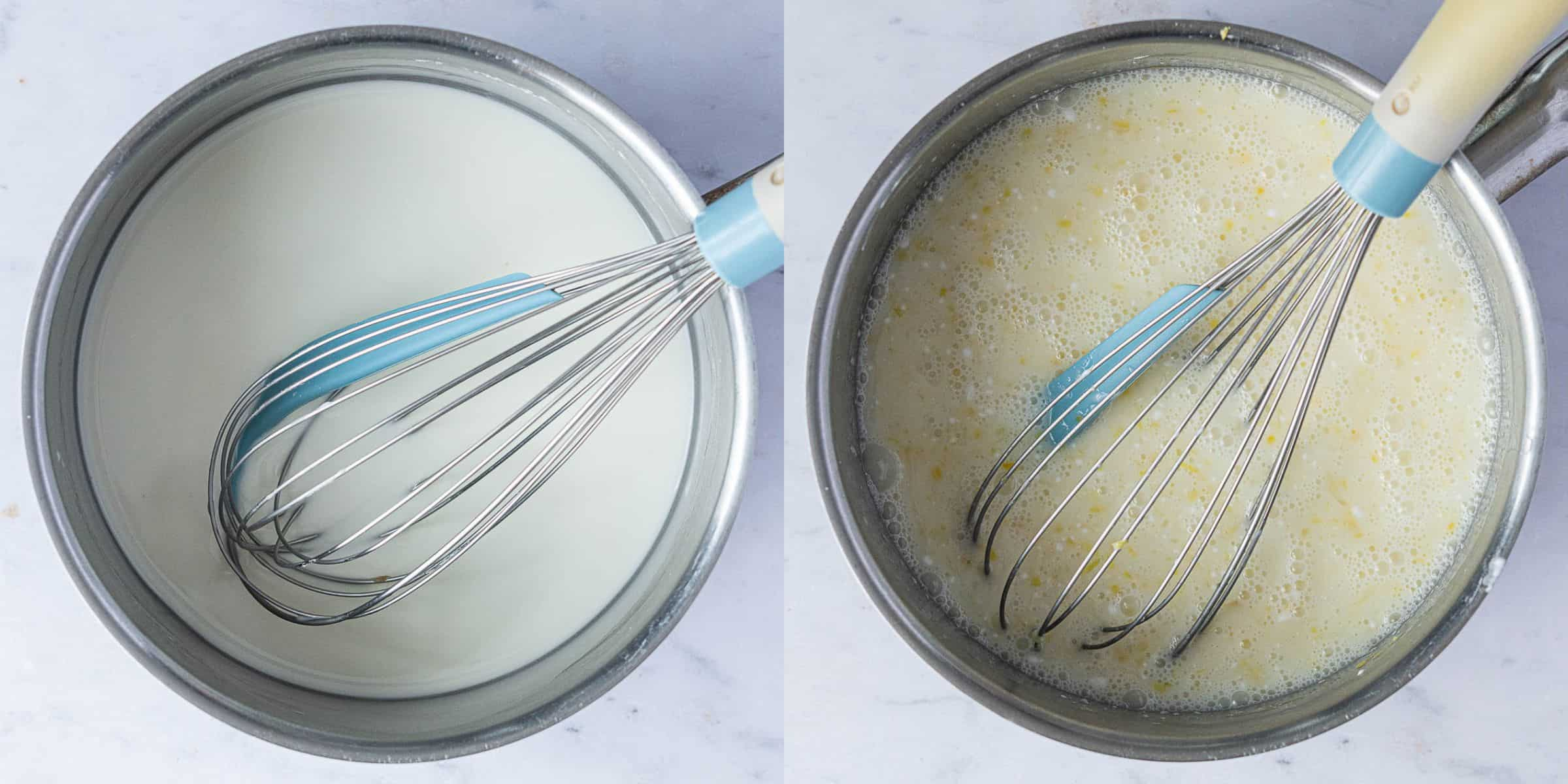 Step 3, a two image collage of mixing the cornflour and water and adding the rest of the ingredients.