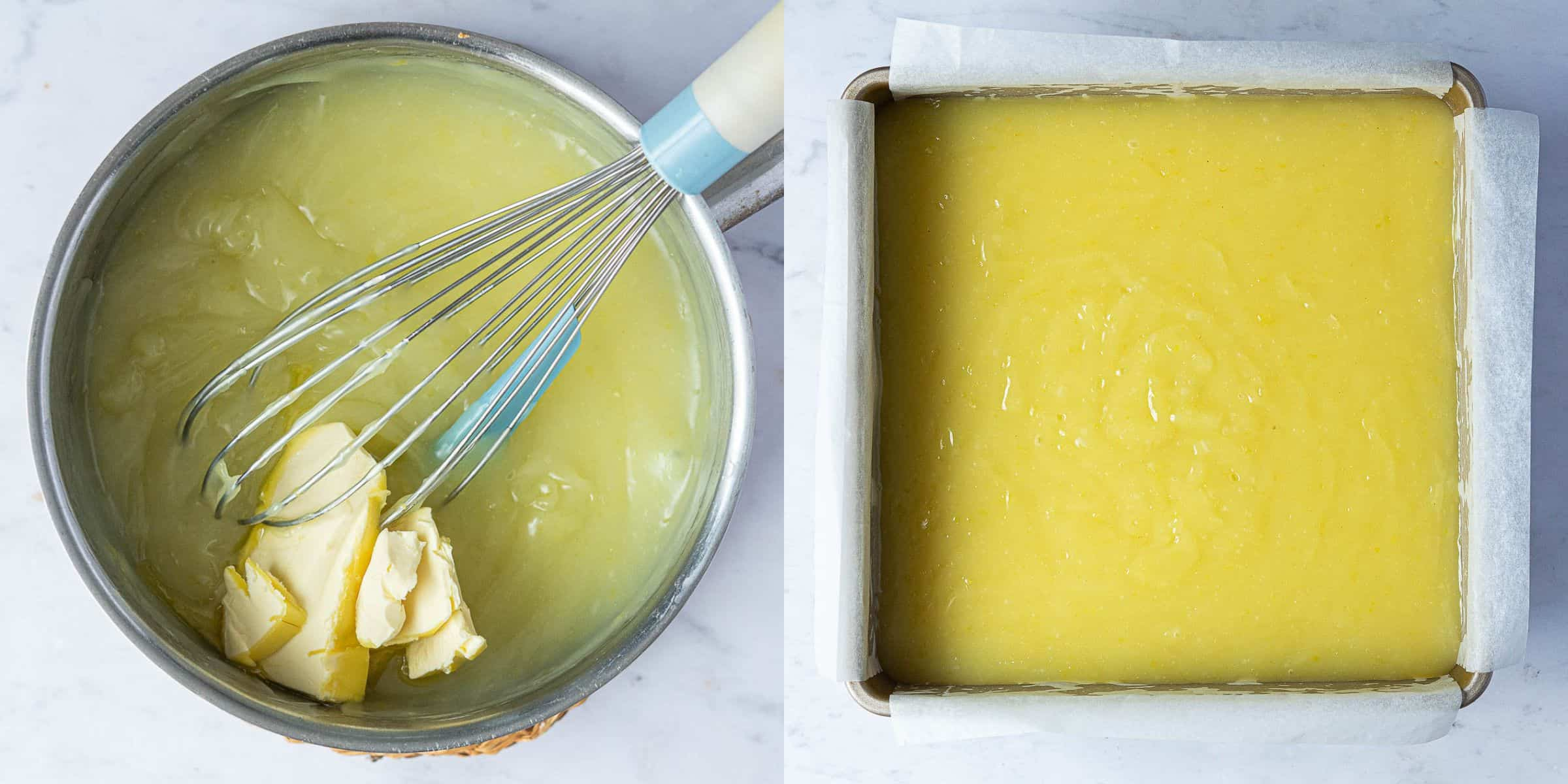 Step 4, a two image collage of adding the butter to the curd and pouring it over the shortbread.