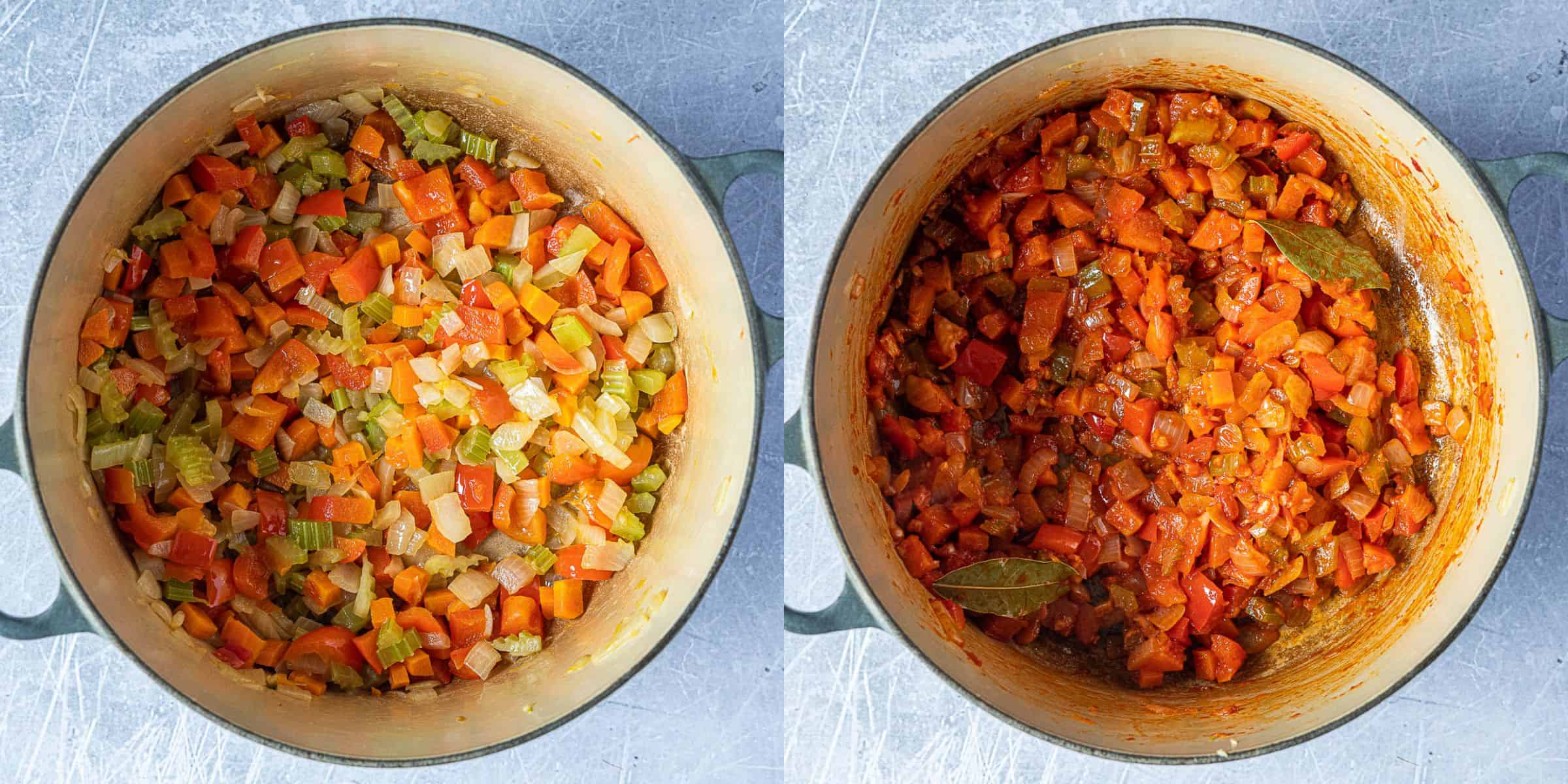 Step 1, a two image collage of frying the vegetables.