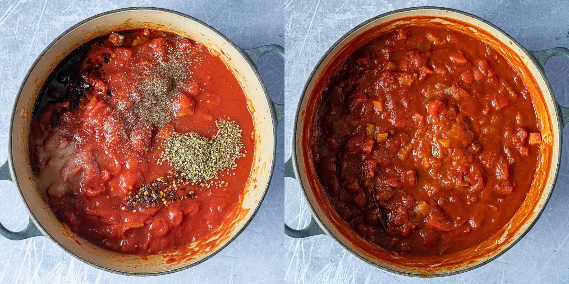 Step 2, a two image collage of adding the tinned tomatoes and seasonings and simmering the sauce.