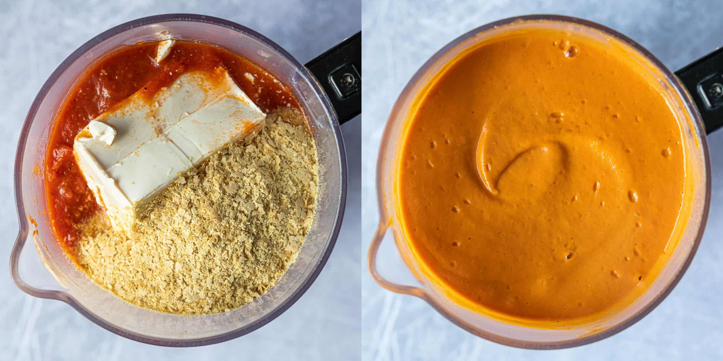 Step 3, a two image collage of adding the sauce, tofu and nutritional yeast to a blender, and the blended sauce.