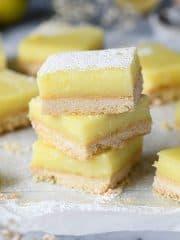 A stack of vegan lemon bars.
