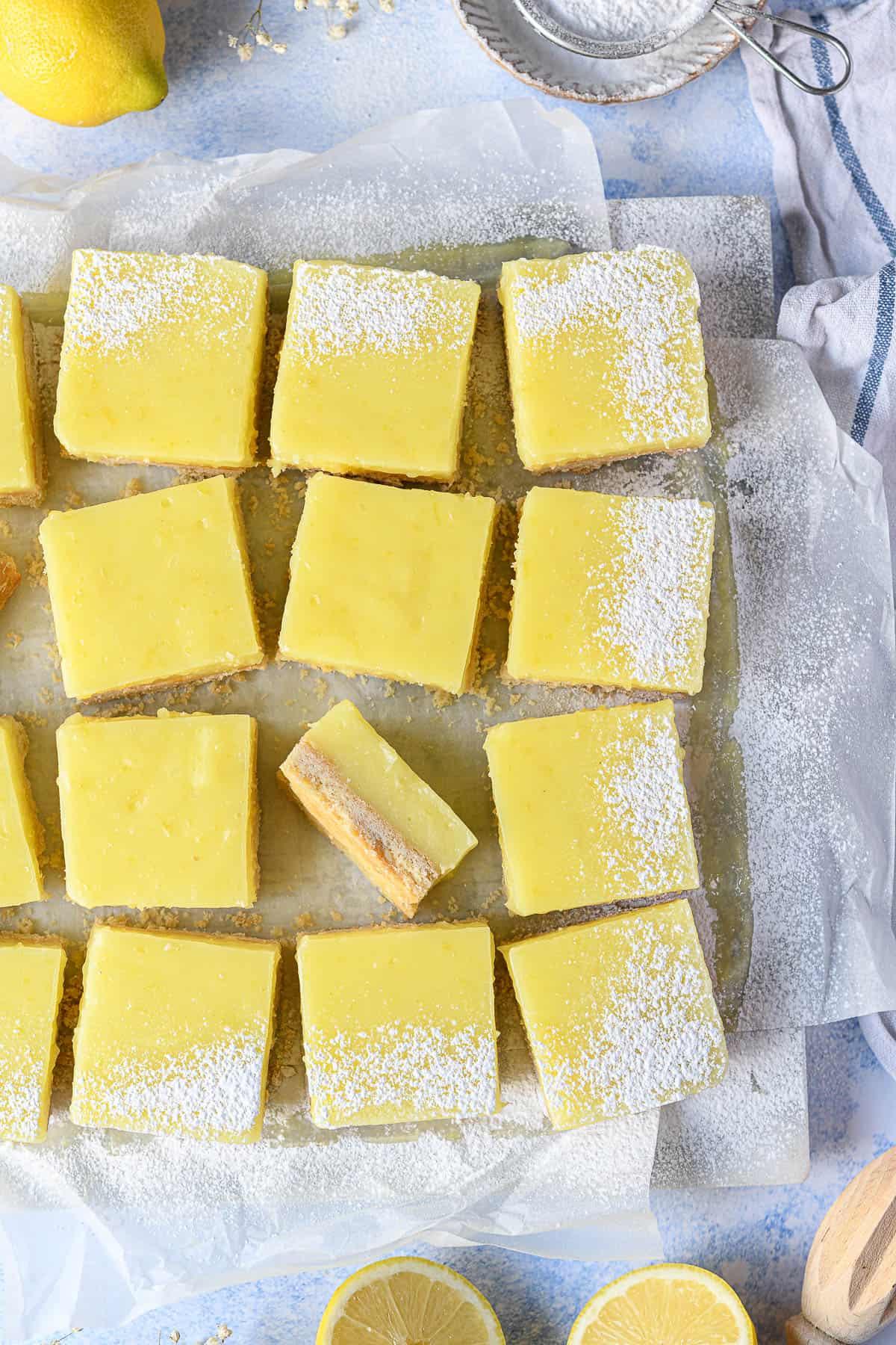 Close up of the sliced vegan lemon bars.