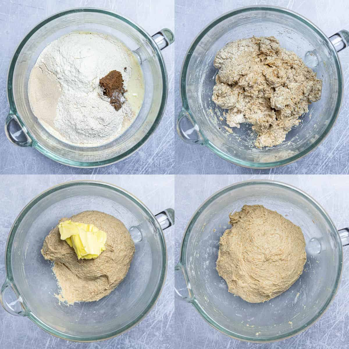 Step 2, a four image collage of adding the ingredients to the bowl, the unkneaded dough, adding the butter and the kneaded dough.