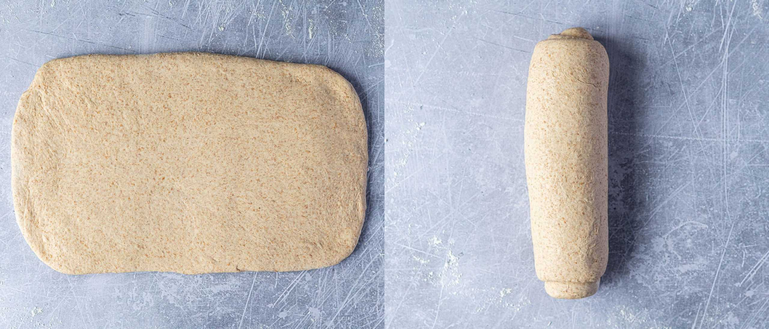 Step 4, a two image collage of rolling the dough out into a rectangle and rolling it up into a log.