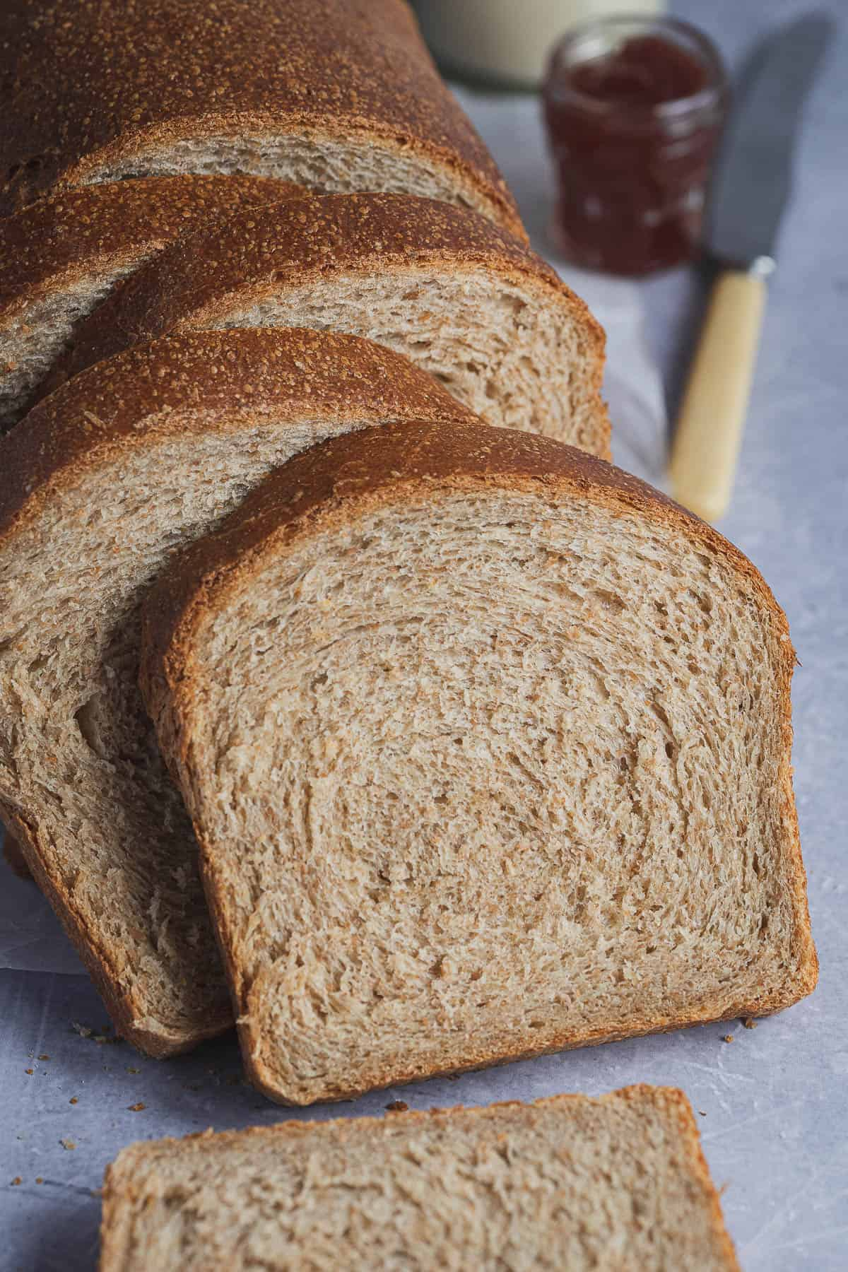 Close up of a slice of wholemeal bread.
