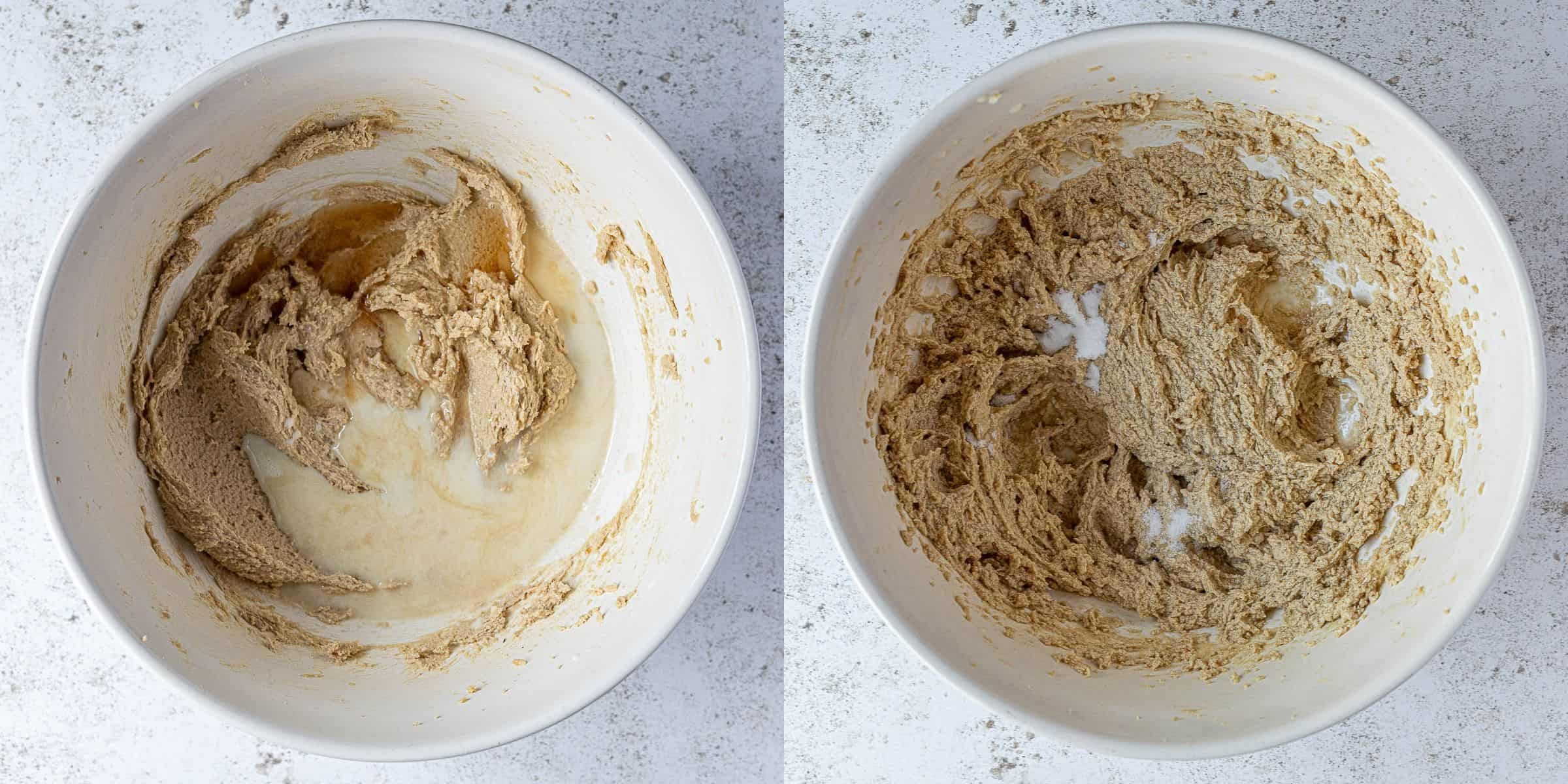 Step 2, a two image collage of whisking in the vanilla, milk, baking soda and salt.