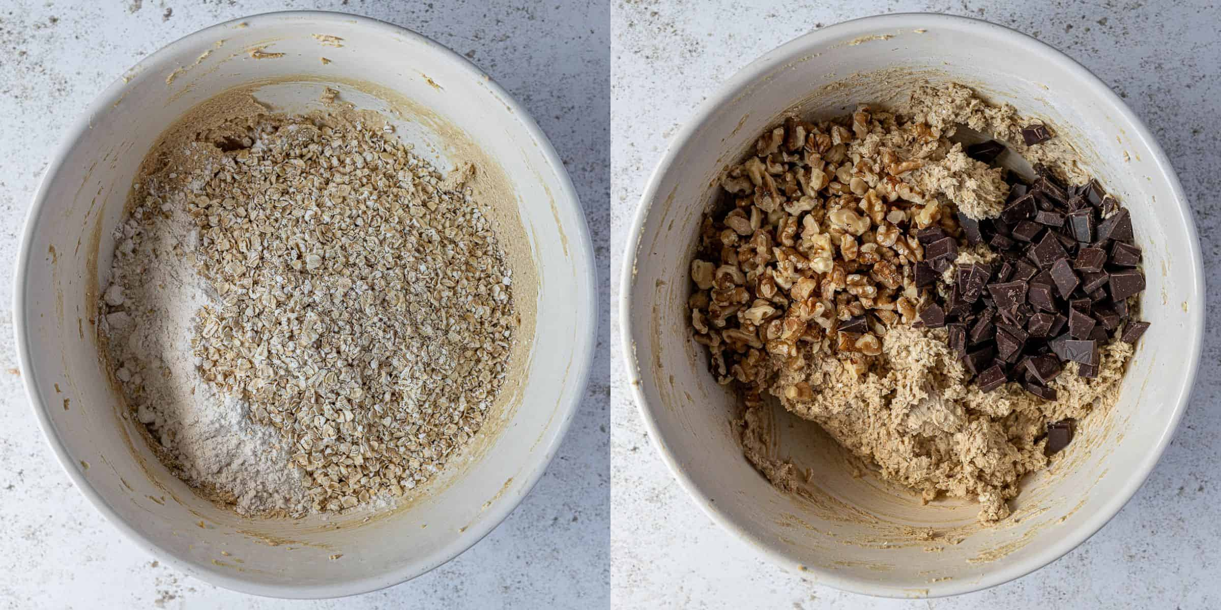 Step 3, a two image collage of adding the flour and oats, and the chocolate and walnuts.