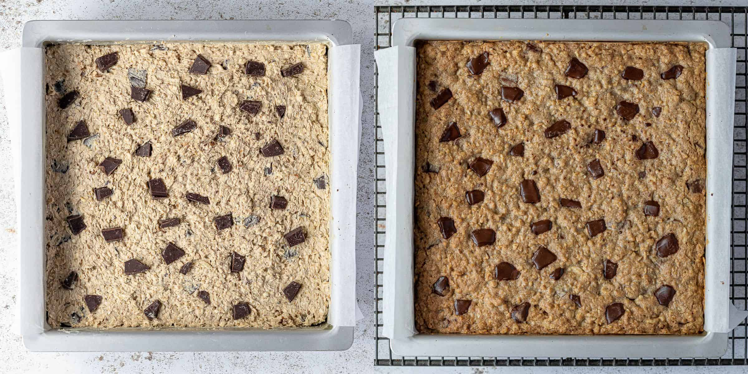 Step 4, a two image collage of the bars before and after baking.