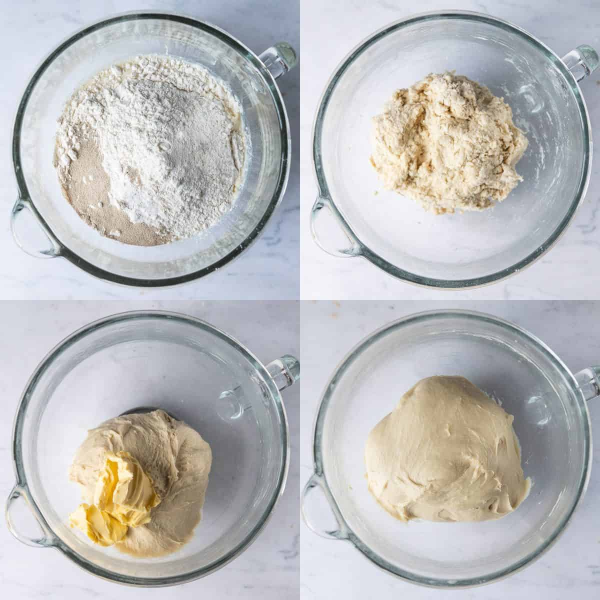 A four image collage of making the bread dough.