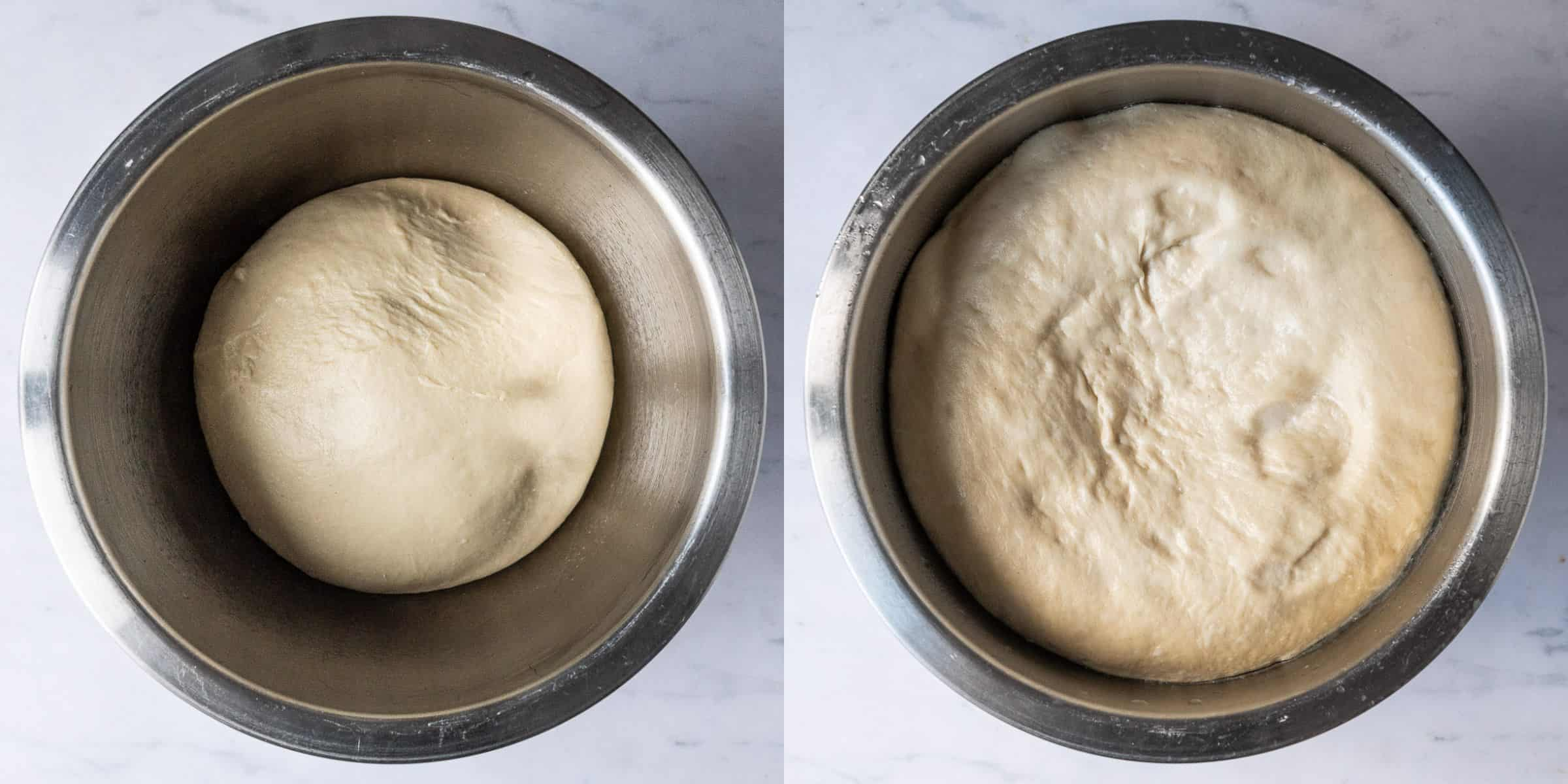 A two image collage of the dough before and after it's first rise.