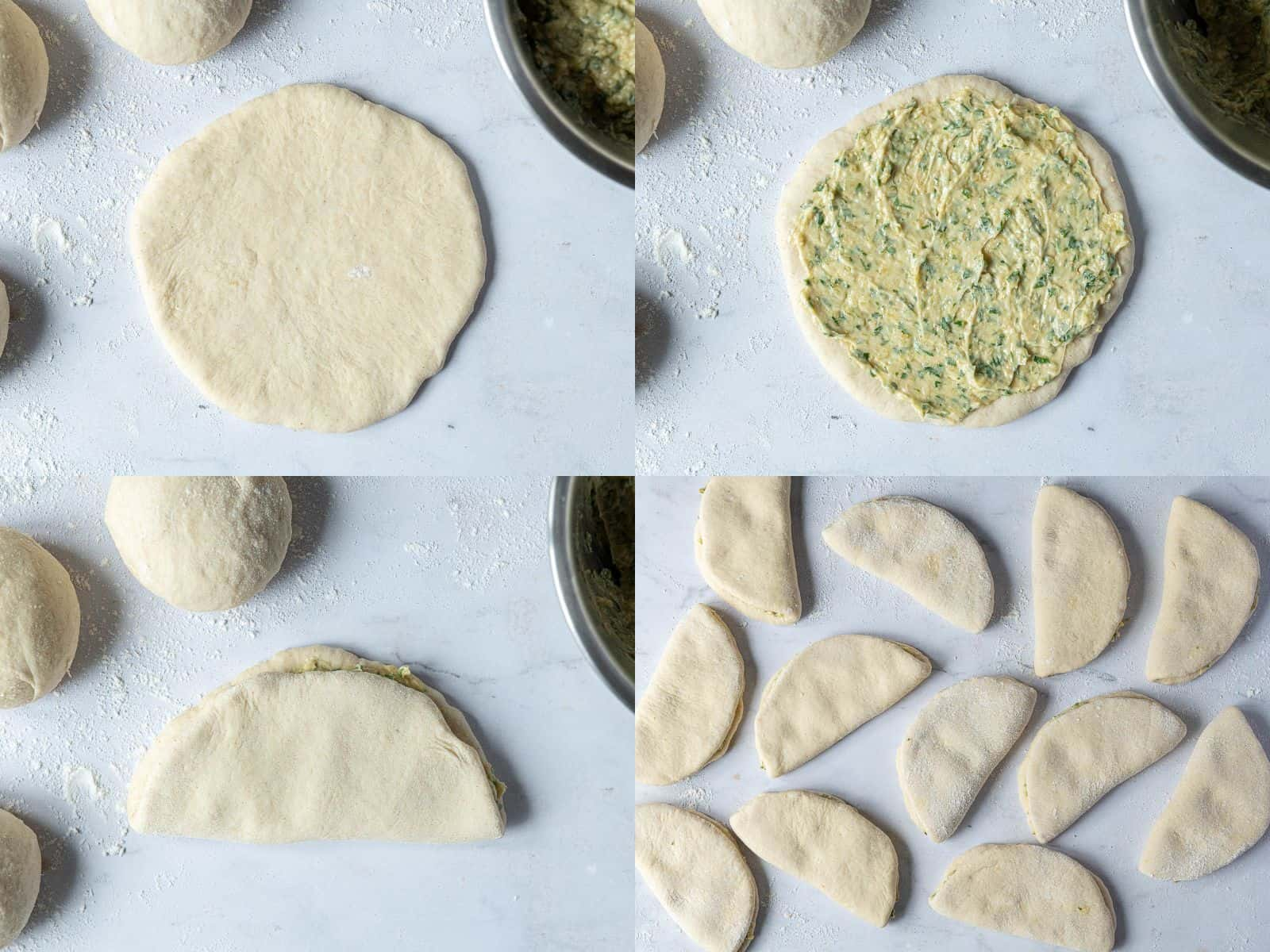 A four image collage of rolling out the balls of dough, spreading on the filling and folding the rounds of dough.