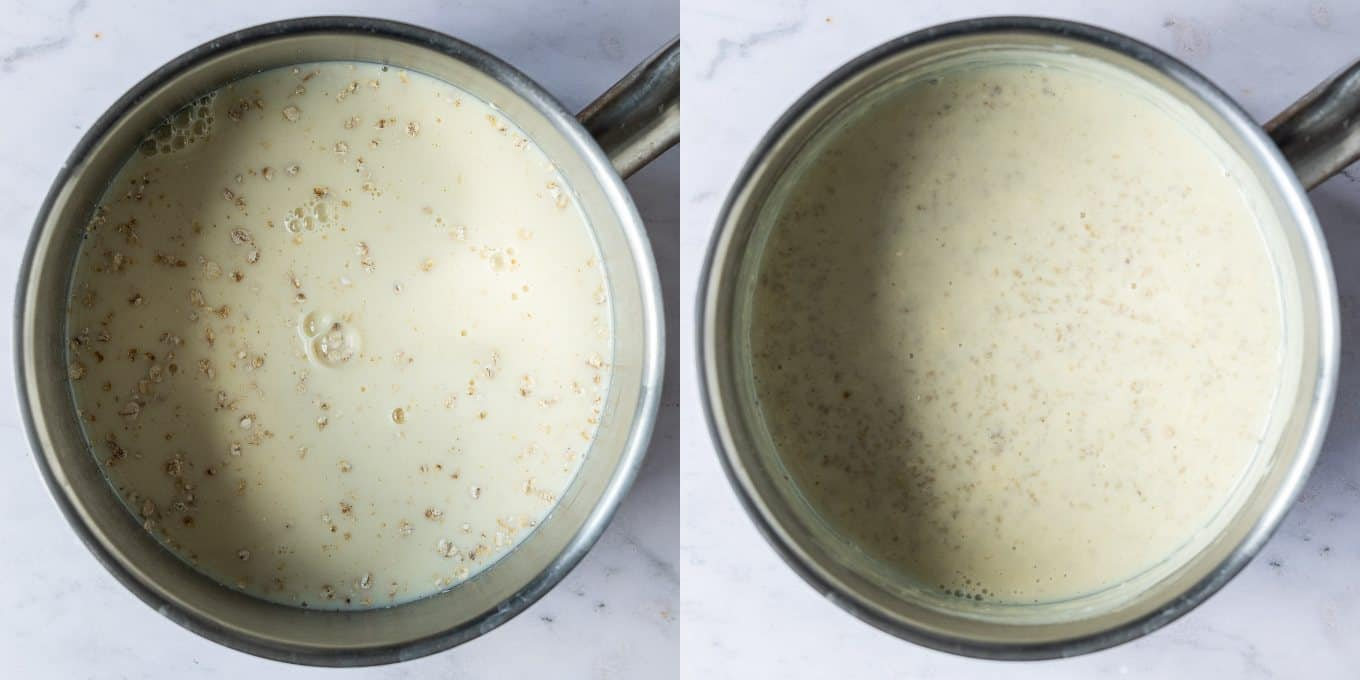 Step 1, a two image collage of cooking the oats and milk.