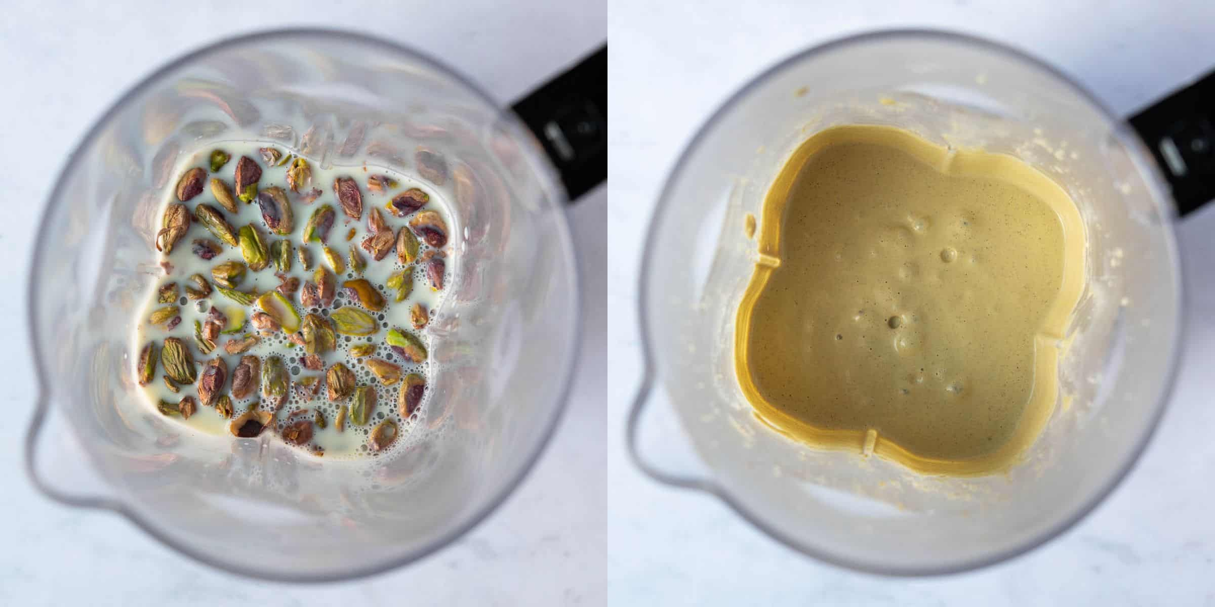 Step 2, a two image collage of blending the pistachios and milk.