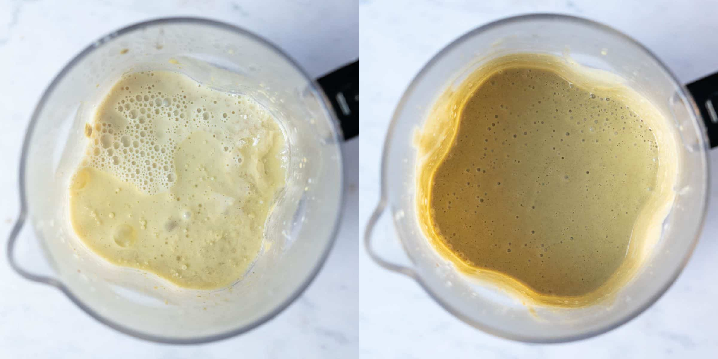 Step 3, a two image collage of adding the rest of the ingredients to the blender and blending until smooth.