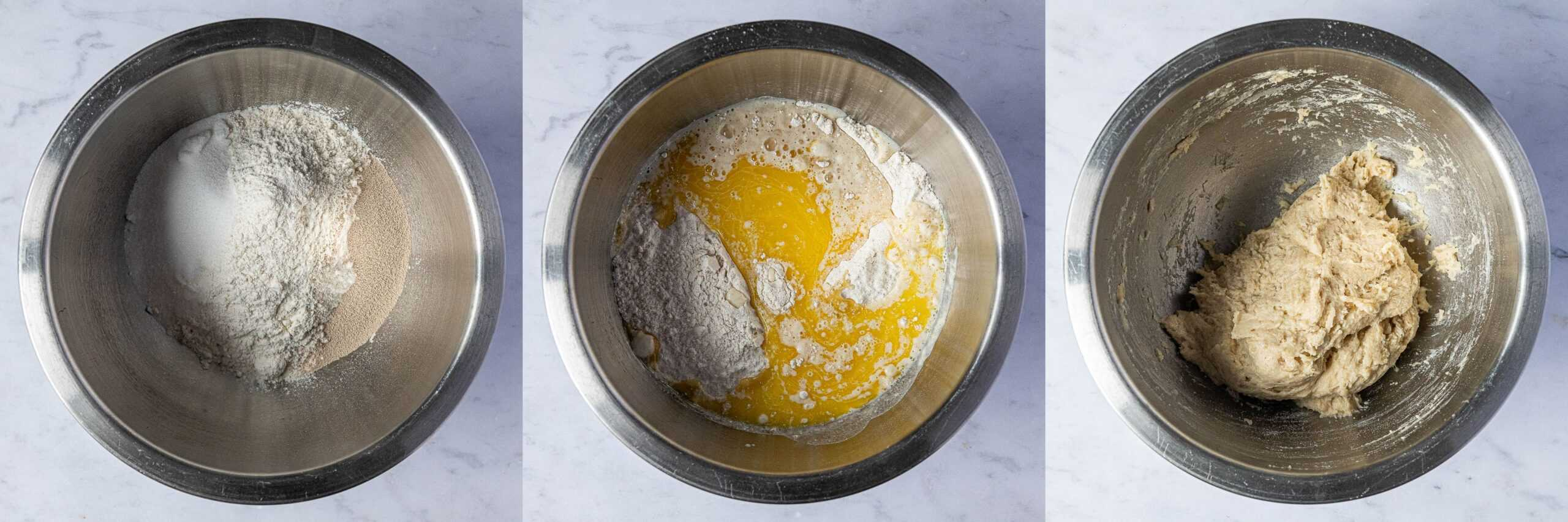 Step 1, a three image collage of making the dough.