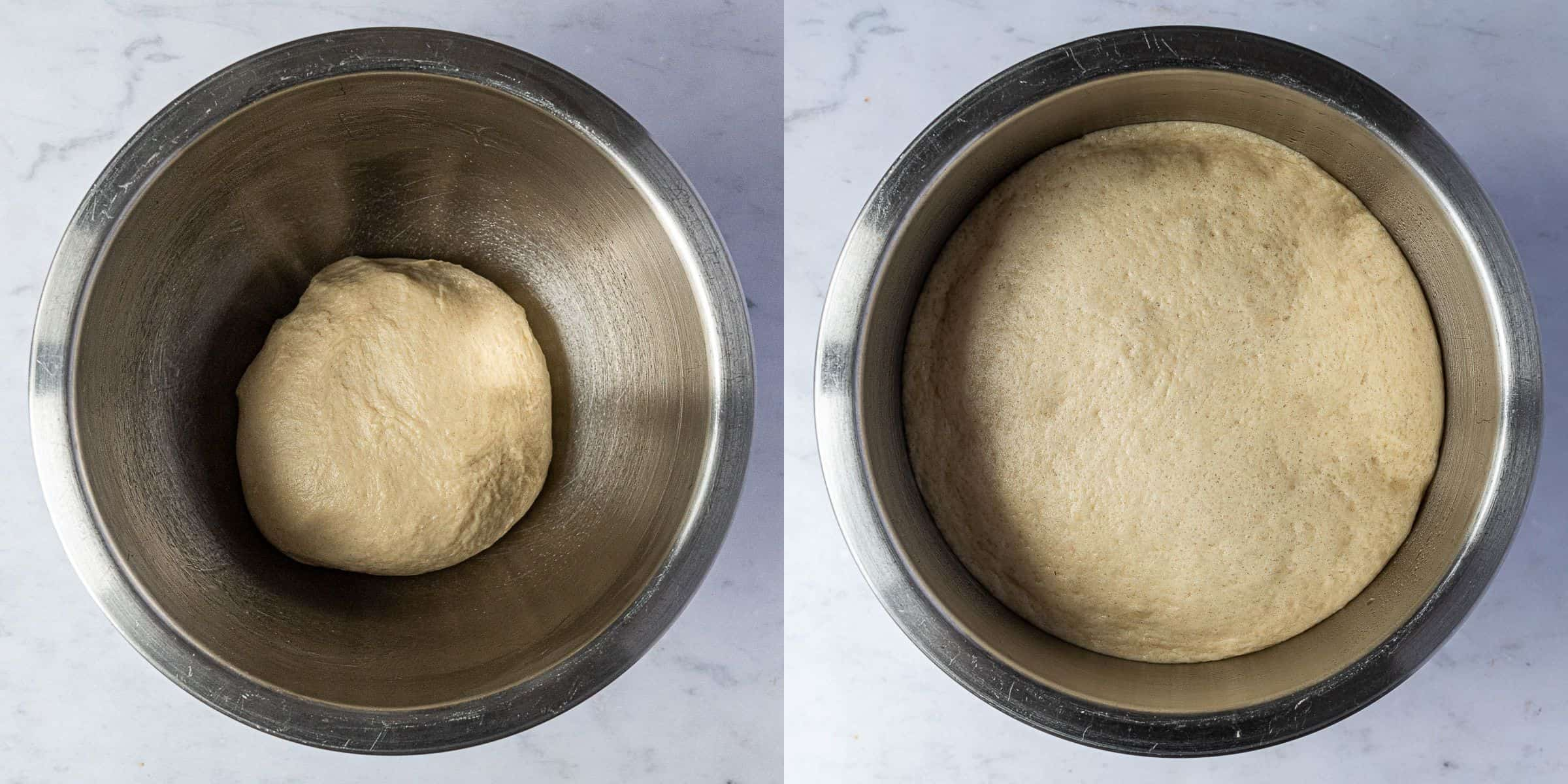 Step 3, a two image collage of the dough before and after rising.