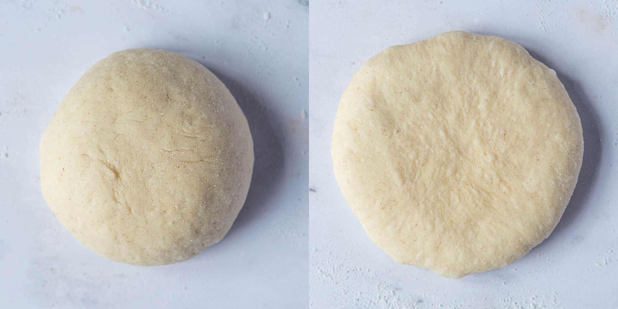 Step 6, a two image collage of flattening the balls of dough.