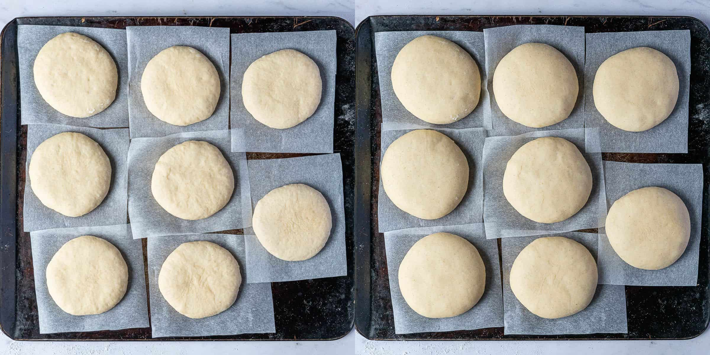 Step 7, a two image collage of the doughnuts before and after rising.