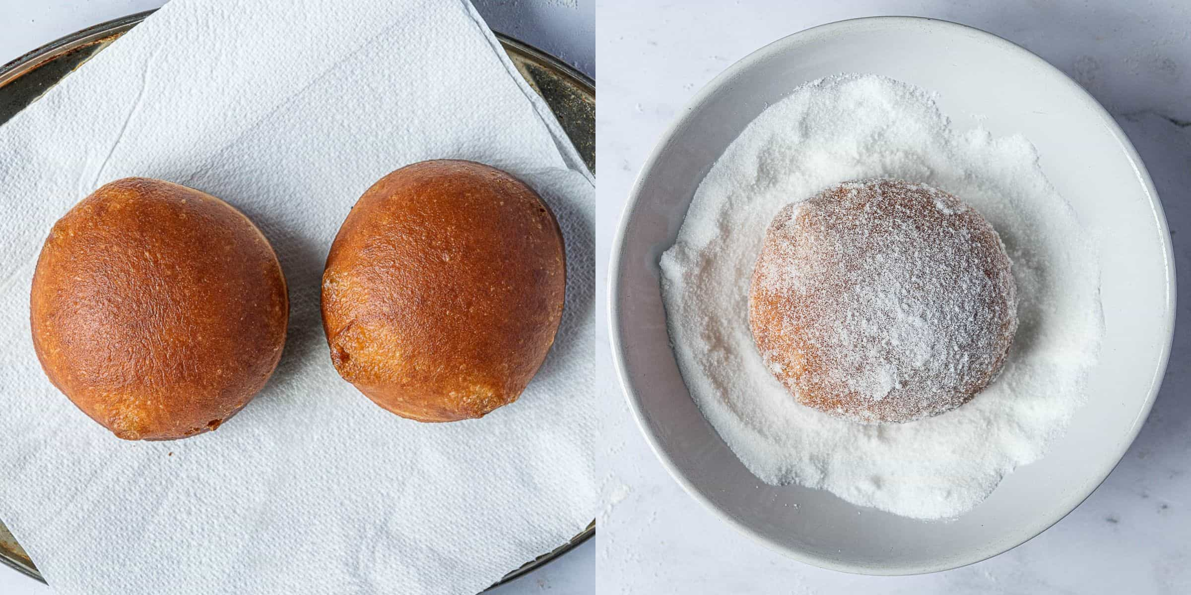 Step 9, a two image collage of draining the doughnuts and rolling them in sugar.